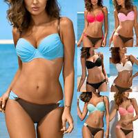 Womens Color BLock Bikini Set Padded Push-up Bra Swimsuit Bathing Suit  Beachwea