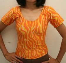 New Orange Animal Print Dance / Fitness Tops Shirts for Women size 8 Small