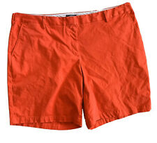 """Lands' End Womens Mid Rise Chino 9"""" Inseam Shorts Size 24W Red"""