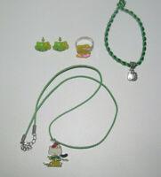 Lot Bague + Bracelet + Boucles + Collier Pendentif Vert NEUF