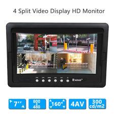 """7"""" Four Split Quad Car Reversing LCD Monitor 4 Video AV Input FOV 160° For 4 Cam"""