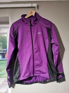 Ladies Purple Cycling Jacket Fleece Large 16/18 Reflective + Pockets