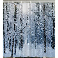 White Winter Fabric SHOWER CURTAIN Snow Flake Holiday Forest Tree Bath Decor