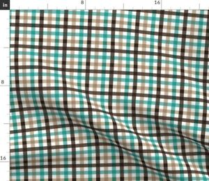 Small Scale Green Grain Browns Plaid Boys Nursery Spoonflower Fabric by the Yard
