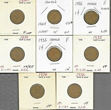 Canada Canadian 1 Cent George V Coins 1920 - 1936 - Lot Of 8