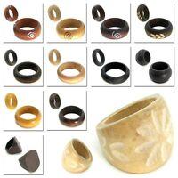 1 Ring Holzringe Holz Fingerring Natur Beige Braun Schwarz Muster Damen Schmuck