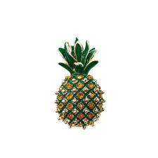 Broche Dorado Piña Fruit Hoja Esmalte Verde Cristal Amarillo Retro Clase XZ6