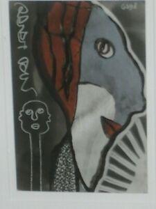 Gerard Sendrey France Artist 1998 Ink on Postcard  VISAGES Saslow Galleries