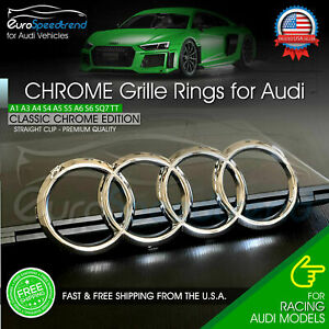 Audi Rings Chrome Front Grille Emblem Badge A1 A3 A4 A5 S5 A6 S6 A7 TT 8K0853605