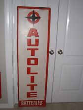 Vintage lg 60X18 Vertical Metal Autolite Batteries Sign  nice cond.