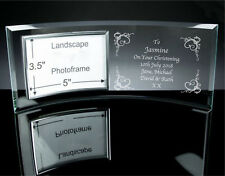 Personalised Engraved Glass Photo Frame - Birth Baby Christening Gift