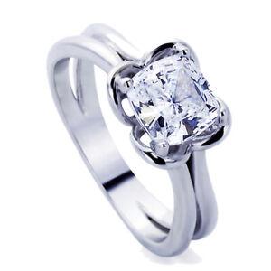Women Sterling Silver 2ct Cushion Cut CZ Wedding Engagement Ring