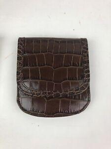 NIB The Original Taxi Wallet Brown Leather Embossed Crocodile Alligator Bifold