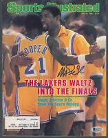 Lakers Magic Johnson Signed May 1982 Sports Illustrated Magazine BAS Witnessed
