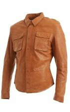 Infinity Button Waist Length Leather Coats & Jackets for Men