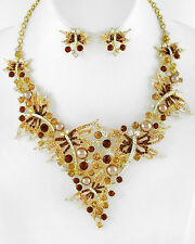 BROWN RHINESTONE DRAGONFLY /MOCHA SYNTHETIC PEARL   NECKLACE  & EARRING SET  10