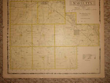 1907 MARIETTA & TOWNSHIP MINERVA IOWA ANTIQUE MAP NR
