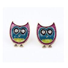 Retro Kitsch Cute Cartoon Owl Crystal Purple Blue Yellow Jewellery Stud Earrings