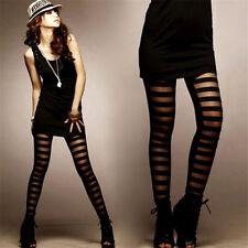 FD4526 Women Girl Rock Punk Gothic Gauze Stripe Mosaic Lace Leggings Pants♫