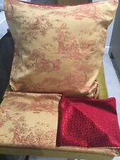 """Vintage Fabric Toile De Jouy Cushion Cover 20"""" X20"""" Red & Gold. New. Single/Pair"""