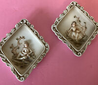 Pair Of 2 Vintage Lefton China Wall Plaques Colonial Boy And Girl, Diamond Shape
