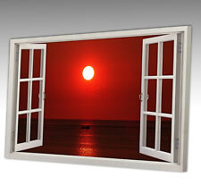 30x20 Inch RED SUNSET SEA WATER REFLECTION WINDOW VIEW CANVAS ART PICTURE