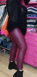 Ladies Wine Stretchy PU Leather Look High Waist Leggings Pants 2 sizes SM & ML