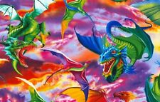 Fantasy Fabric - Colorful Large Dragon Scene C6317 - Timeless Treasures YARD