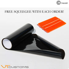 30 x 100cm Dark Black Smoke Headlight Tinting Film Fog Vinyl Tint +FREE SQUEEGEE