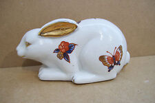 "Enesco Ceramic Butterfly Flowers & Gold Decorated Rabbit Figurine 4"" X 2"""