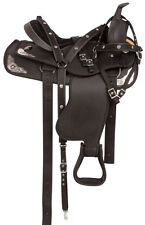 USED 16 17 BLACK SILVER SYNTHETIC WESTERN TRAIL HORSE SADDLE TACK