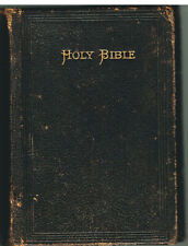 Holy Bible 1886 Leather Flap American Bible Society!