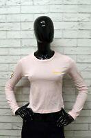 Maglia GURU Donna Taglia S Shirt Woman Manica Lunga Cotone Rosa Maglietta Polo