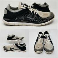NIKE Free 4.0 Flyknit Black White Split Running Shoes Sneakers Low Mens Size 11