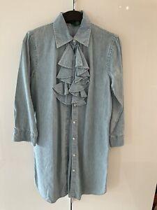 NEUw Orig Ralph Lauren KLEID M 38 40 Edel Elegant Jeans Rüsche Mini Top Hemd
