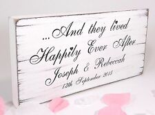 Happily Ever After Wedding Sign Personalised Plaque Vintage Shabby & Chic 03