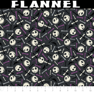Disney Master Of Fright Skull & Bones Purple Glow Cotton Flannel Fabric BTY
