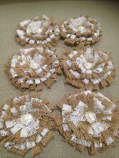 6 X Rustic Chic Wedding Burlap&Lace Handmade 11cm Flowers,Diamente Heart Centre