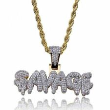 "Mens 18k Gold Plated Iced Out SAVAGE CZ Hip Hop Pendant 24"" Rope Chain Necklace"