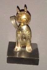 "Vintage Stirling Silver Spoon Art Cat Figure 5.5"" Figurine on Wood Base 1971"