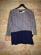 Haut T Shirt Tee Shirt Zara Bleu Et Beige Leopard Taille L 40