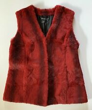 Lafayette 148 New York 100% Rabbit Fur Red Maroon Vest Womens Size Medium Top