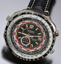 BLACK WORLD TIME DIAL TEGROV WRISTWATCH | 17 JEWEL CENTER SECONDS CA1970
