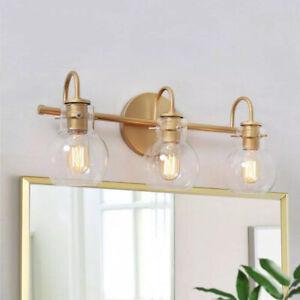 LALUZ Robb Modern 3-Light Gold Bathroom Vanity Light Interior Room Lighting