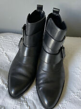 Pointed Toe Ankle Boots Clarks Buckles Black 6 Zip