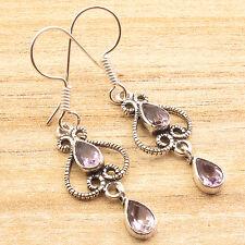 Amethyst Art Earrings Discount Jewelry Handcrafted Fancy Silver Plated Genuine