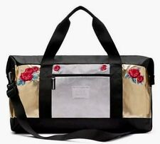 Victoria's Secret Bling Embroidered Roses Weekender Duffle Bag Gold Silver NWT
