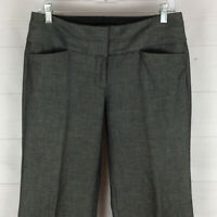 EXPRESS Editor women size 4P stretch gray flat front mid rise flare career pants