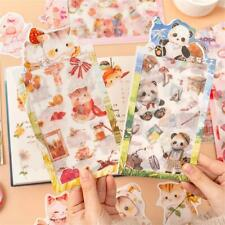 4 Sheets Cat Panda Washi Paper Sticker Cute Scrapbook Diary Planner Stickers DIY