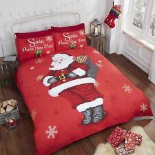 Noël Père Noël Please Stop ICI Flocons de neige rouge gris housse couette simple